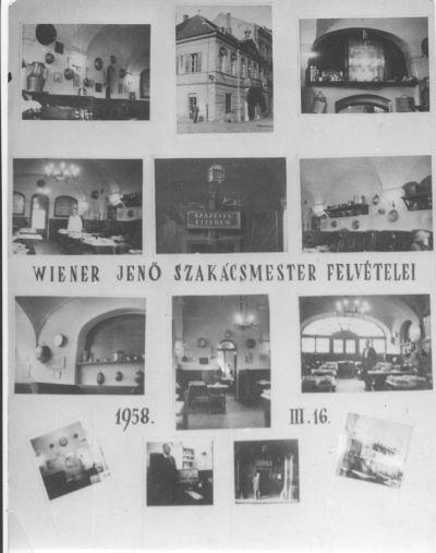 Százéves étterem - plakát, Wiener Jenő fényképei, Budapest, 1958