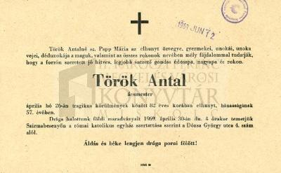 Török Antal gyászjelentése
