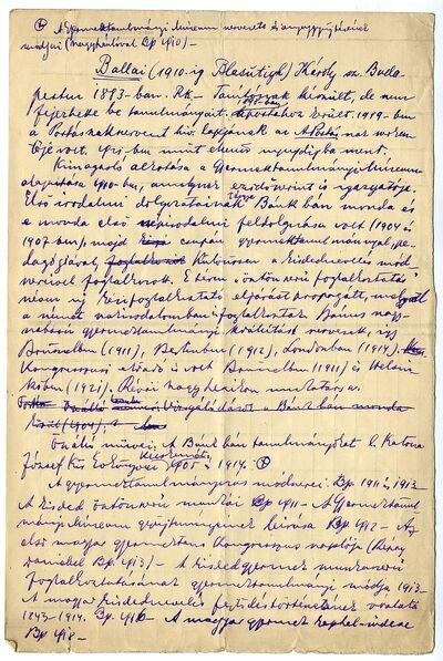 Ballai (Blasutigh) Károly életrajza, 1930 k.