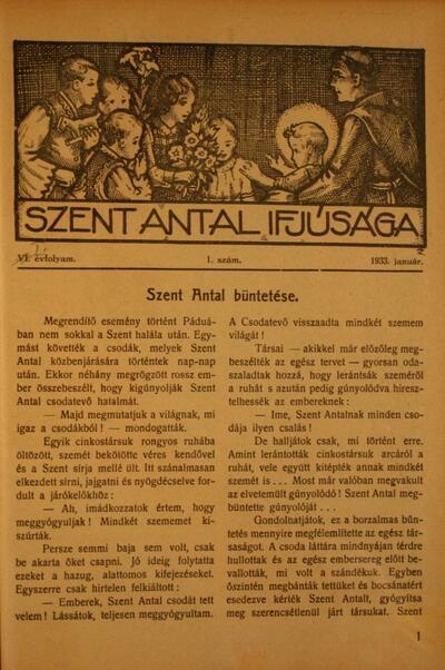 Szent Antal Ifjúsága 1933. január