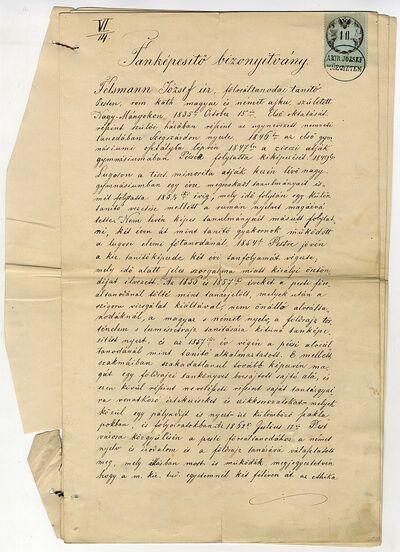 Felsmann József reáltanodai tanképesítő bizonyítványa, 1864