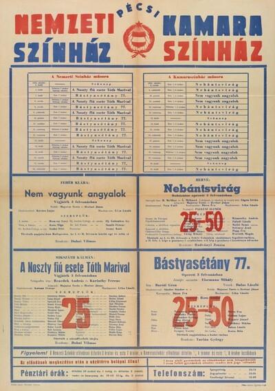 Pécsi Nemzeti Színház és Kamaraszínház 1958. október havi műsora