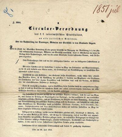 Az egyházi anyakönyvezésről - I. Circular Verordnung, 1851