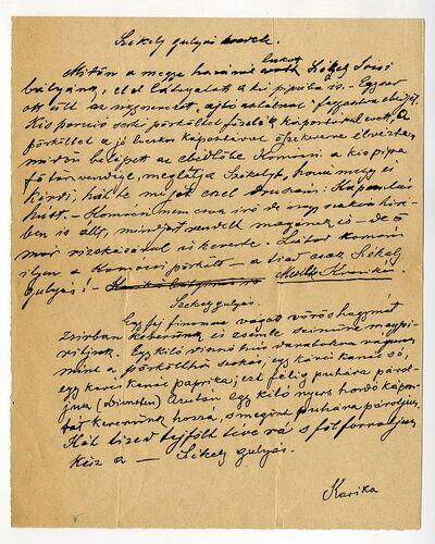 Karika aláírású írás a Székely gulyás eredetéről és receptjével, é.n. [19. sz. második fele]