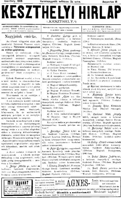 Keszthelyi Hírlap 1908.08.16.