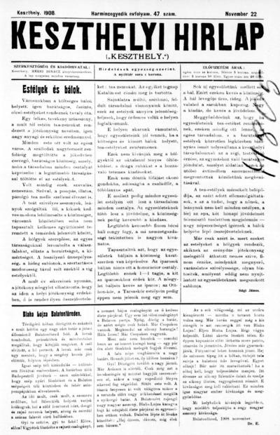 Keszthelyi Hírlap 1908.11.22.