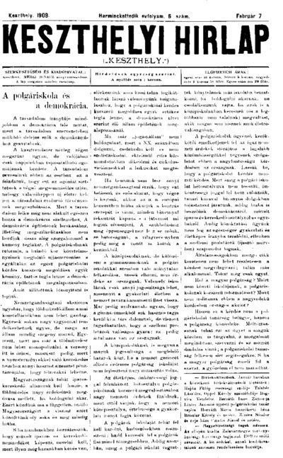 Keszthelyi Hírlap 1909.02.07.