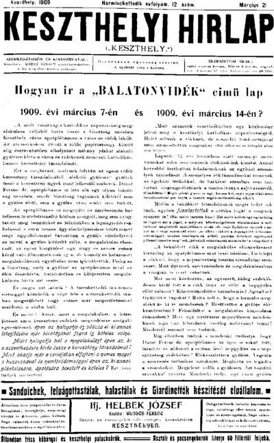 Keszthelyi Hírlap 1909.03.21.