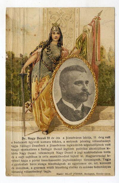 Dr. Nagy Dezső választási propaganda röplapja (levelezőlap), 1906