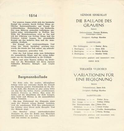 Pécsi Balett német nyelvű műsorfüzet