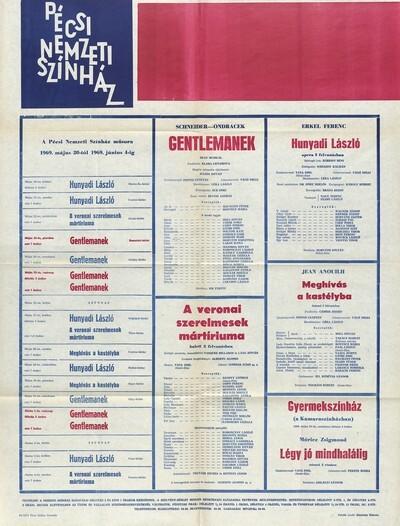 Pécsi Nemzeti Színház műsora 1969. május 20-tól 1969. június 4-ig