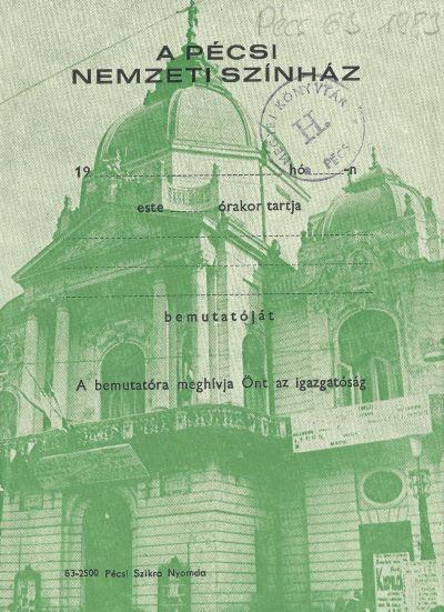 Pécsi Nemzeti Színház meghívója