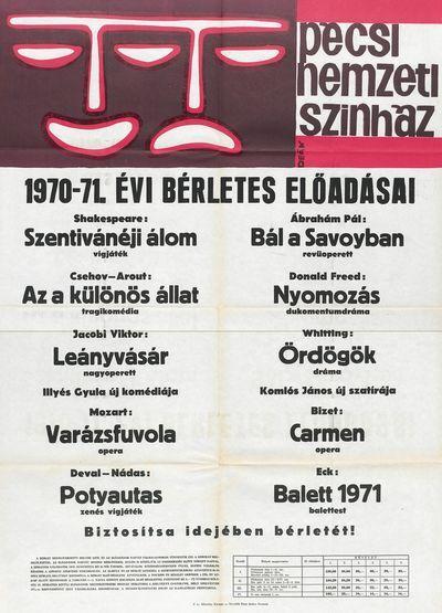Pécsi Nemzeti Színház 1970-71 évi bérletes előadásai