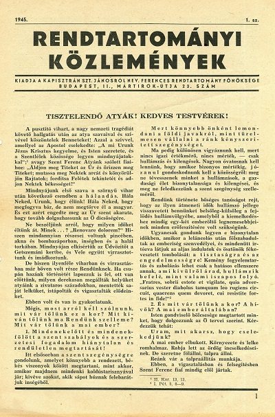 Rendtartományi Közlemények 1945