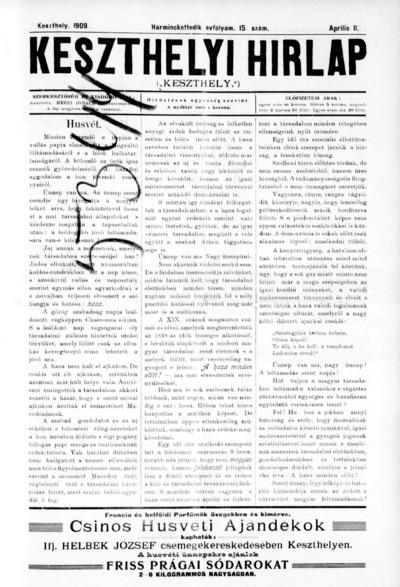 Keszthelyi Hírlap 1909.04.11.