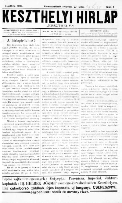 Keszthelyi Hírlap 1909.07.04.