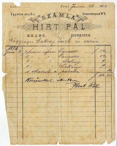 Hirt Pál szabó számlája, Egyetem u. 6., 1874