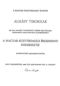 Kitüntetés az életmentő Almásy Tibornak