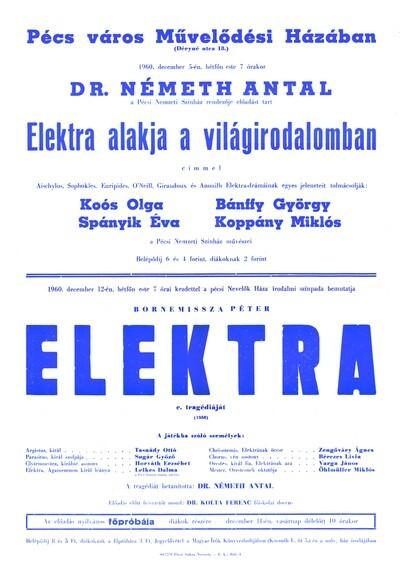 Elektra előadás és bemutató plakát