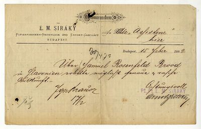 Siráky papírkereskedő nyugátja, 1882