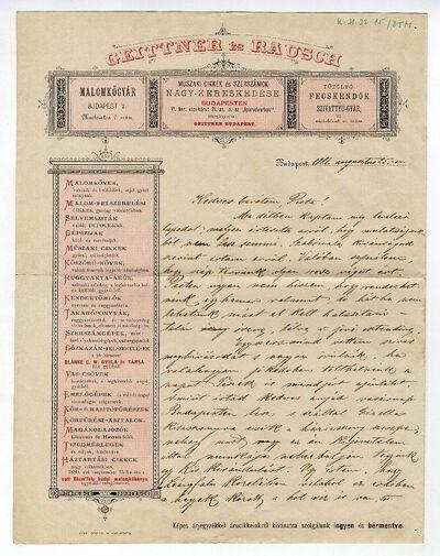 Geittner és Rausch műszaki nagykereskedés üzleti levélpapírján magánlevél, 1881