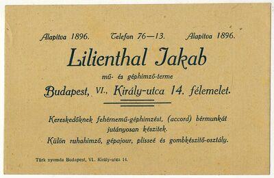Lilienthal Jakab mű- és géphímzőterme, hirdetés, Király u. 14.