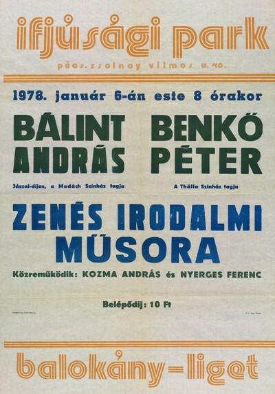 Bálint András és Benkő Péter zenés irodalmi műsora plakát
