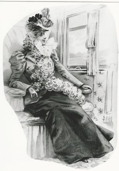 Vonaton utazó hölgy - 1900-as évek vége