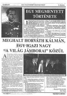 Egy nagyszerű magyar tiszt - újságcikk