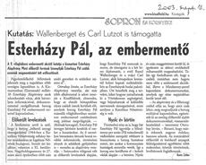 Esterházy Pál, az embermentő - újságcikk