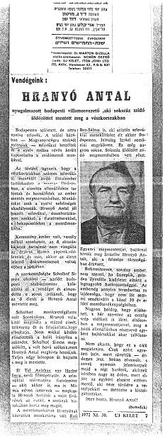 Vendégeink: Hranyó Antal - újságcikk