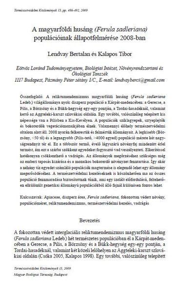 A magyarföldi husáng (Ferula sadleriana) populációinak állapotfelmérése 2008-ban