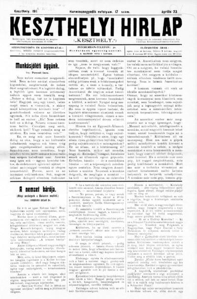Keszthelyi Hírlap 1911.04.23.