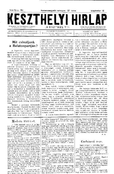 Keszthelyi Hírlap 1911.09.10.