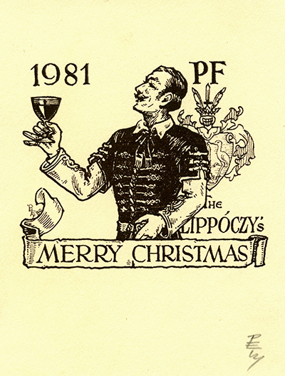 Ex libris Lippóczy Merry Christmas