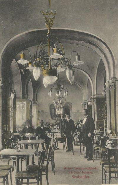 Arany bárány Kávéház - képeslap, Szabadka, 1910-es évek