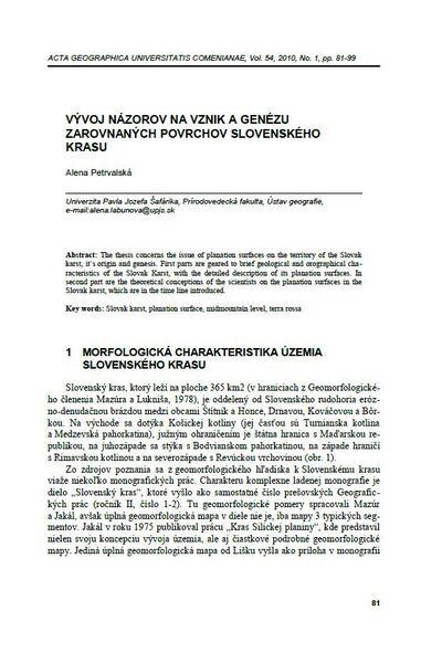 Vyvoj názorov na vznik a genézu zarovnanych povrchov Slovenského krasu