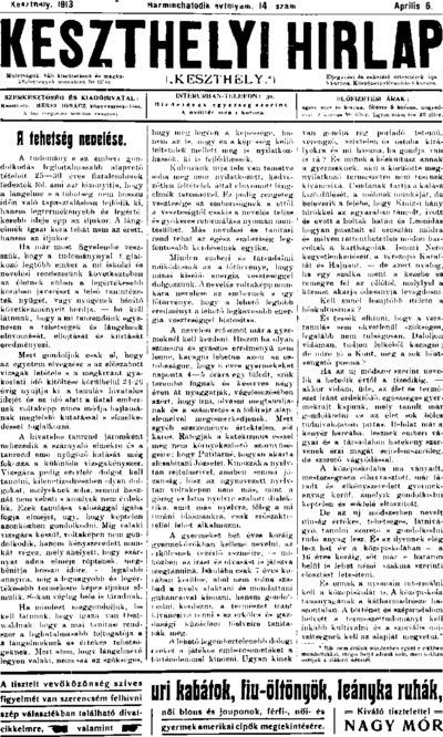 Keszthelyi Hírlap 1913.04.06.