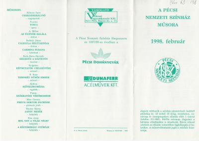 Pécsi Nemzeti Színház 1998. február havi műsorplakát