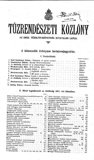 Tűzrendészeti Közlöny 1911.