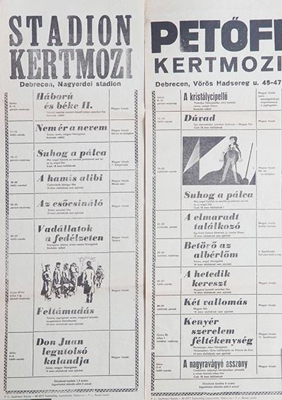 Stadion és Petőfi Kertmozi műsora