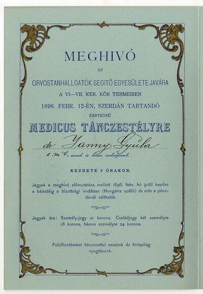Meghívó medikus-bálra, Janny Gyula részére, 1896