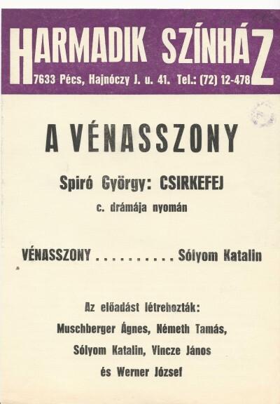 A vénasszony színházi plakát