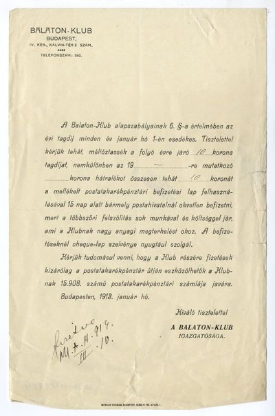 A Balaton-klub felhívása tagdíjfizetésre, 1913