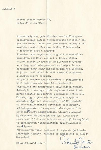 Takács István bátori levelezése 2