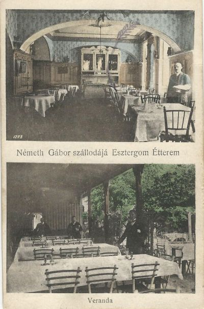 Németh Gábor szállodája - képeslap, Esztergom, 1915