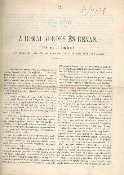 A római kérdés és Renan