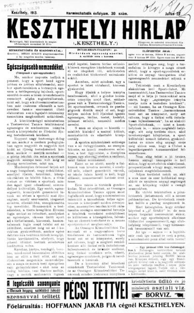 Keszthelyi Hírlap 1913.07.27.