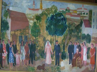 A kaposvári házasságkötő terem falképének terve