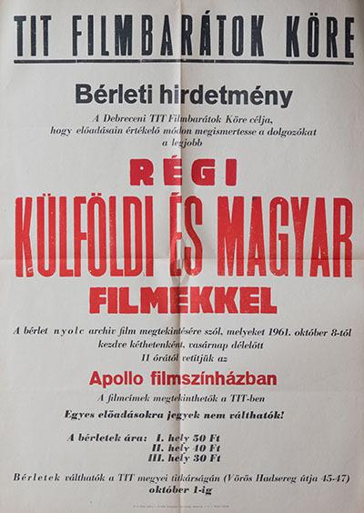 Régi külföldi és magyar filmek az Apollo filmszínházban